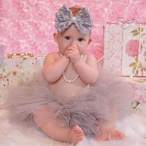 Gray Tutu And Headband Sweetheart Cupcake Summer Style Tutu Set Baby Girl Birthday Outfit New Born Fluffy Skirt Toddler Tutus(China (Mainland))