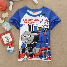 2016 summer Girls boys t-shirts thomas friends Shopkins Children Baby Blouse next kids clothes cartoon car cotton top Tee things