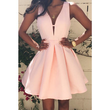 2016 Summer Sexy Women Dress Deep V-Neck Backless Sleeveless Pink Dresses Club Evening Party Ladies A-line Mini Dress Plus size(China (Mainland))