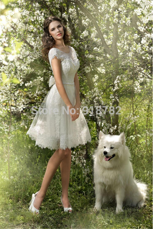 Mansa vintage short knee length lace beach wedding dress for Backless bohemian wedding dress