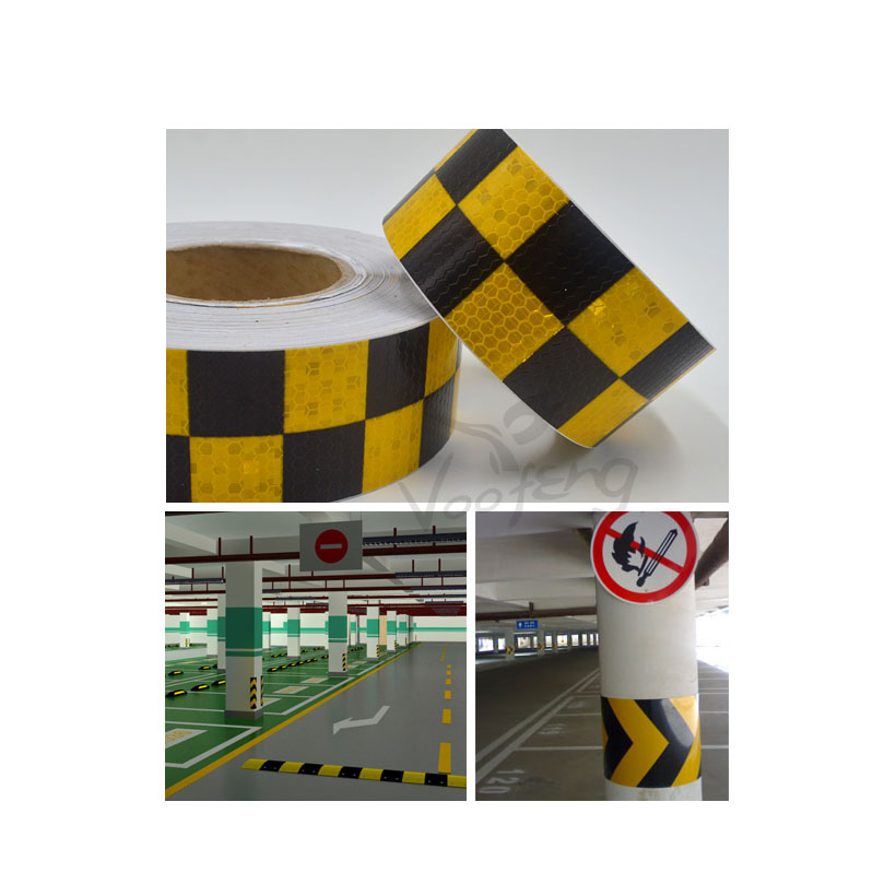 5cmx10m Shining Reflective Warning Self-Adhesive Stikcer with Yellow Black Color Square Printing for Fashion