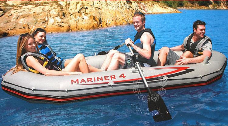 INTEX MARINER SUPER 4 person inflatable boat 328*145*48cm, 137cm Alumnium oards, hand pump, repair patch(China (Mainland))