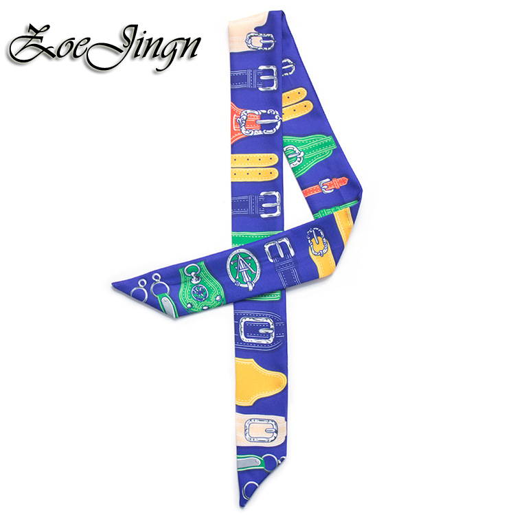 New Fashion Belt Print Lady Small Twilly Scarves For Summer 2016 5 Colorful Luxury Bag Rainbow Tied Handle Ribbon Scarf(China (Mainland))