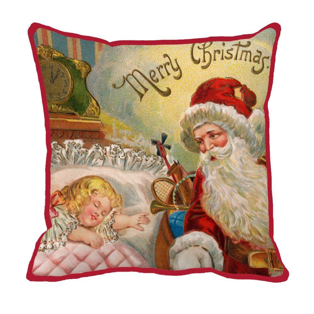 Santa gives a gift to a sleeping kid print custom christmas red chair bed cushion home decor luxury sofa throw decorative pillow(China (Mainland))