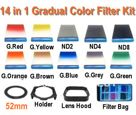 Free shipping 14 in1  52mm adapter ring +7Square Graduated Color filers +ND2ND4ND8+Filter holder +lens hood for Cokin P