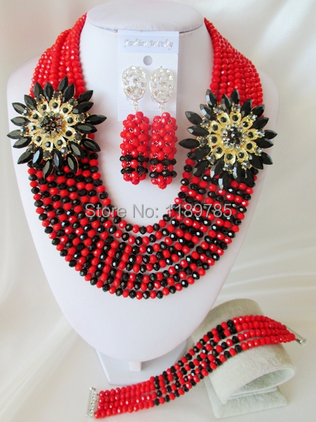 Fashion Nigerian African Wedding Beads Jewelry Set ,Red  Crystal Necklace Bracelet Earrings Set A-7181<br><br>Aliexpress