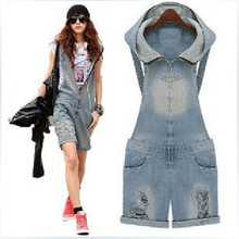 New 2016 S-XL Women Girls Washed Jeans Denim Casual Hole Jumpsuit Romper Overalls women zipper Jeans Shorts Pants sexy overalls
