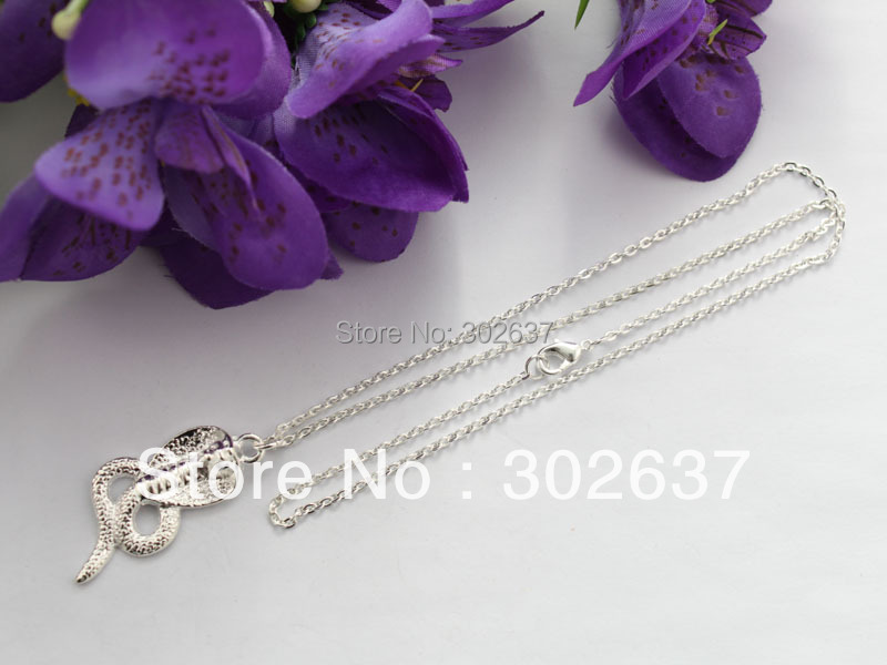 10PCS Silver Plated Cobra Pendant Chain Necklaces #22469(China (Mainland))