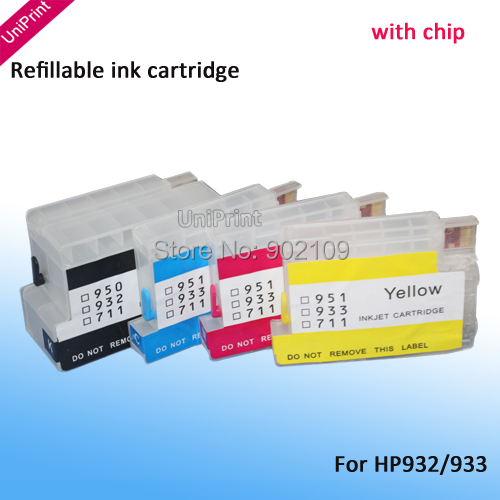 For HP932 ciss cartridge Refillable Ink cartridge for hp 932 933 for HP Pro 6100 6600 6700 7100 H611a H711a H711g with chip(China (Mainland))