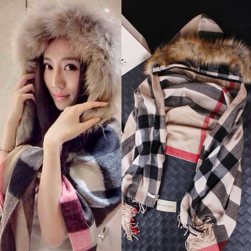 2015 Women brand winter wool cloak coat lady overcoat faux fur hooded collar beige stripe cape style long coats women - AliExpress China mall store