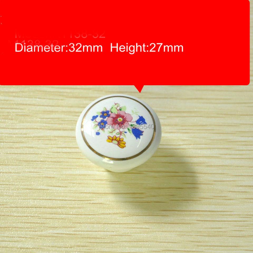 New 32mm Ceramic Cabinet Drawer Knobs Cupboard Knob Wardrobe Handles Bedroom Flower Closet Knobs Dresser Pulls Shoesbox Pulls<br><br>Aliexpress