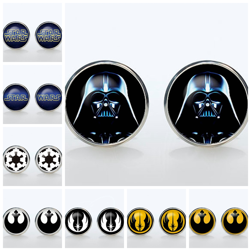 Superheroes Shirt Cufflinks Star Wars Silver Plated Round Glass Cuff Links Mans Accessories Empire Sign Sleeve Button Man Gift(China (Mainland))