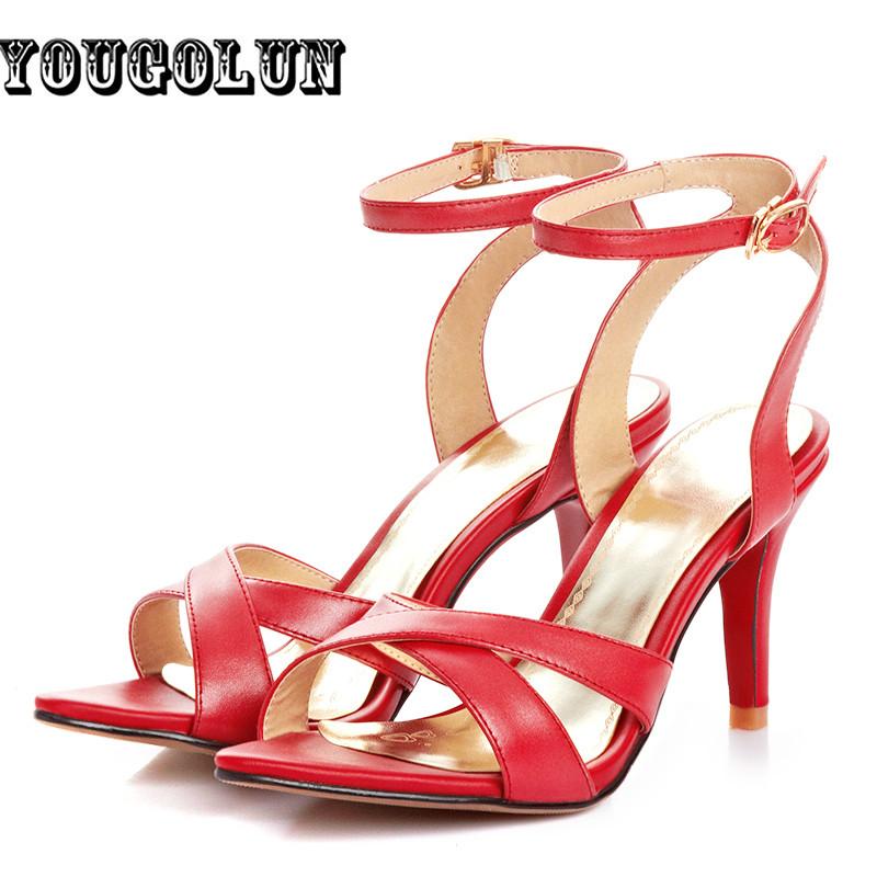 Women genuine leather Sandals sexy Ladies Summer high heels Sandal Shoes Woman sandal open toe shoes sandalias sapato feminino