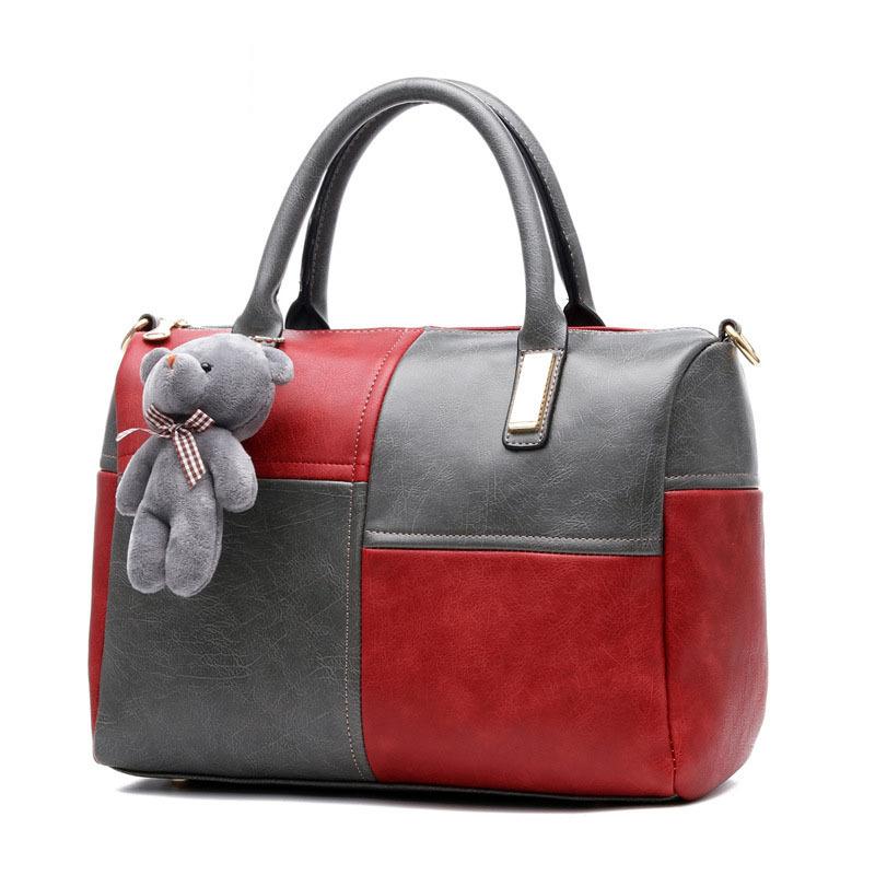 Boston Handbags Women Leather Ladies Patchwork Geometric Diamond Lattice Crocodile Skin Satchel font b Plaid b
