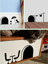 3d Funny cartoon mouse hole wall stickers for kids rooms home decals decorative 358 removable wall murals(China (Mainland))