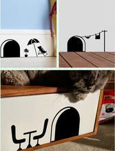 3d funny cartoon buco del mouse wall stickers per bambini camere casa decalcomanie decorative 358 murales rimovibili(China (Mainland))