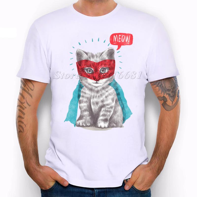 2016 Brand Men Women T-shirt Hip Hop Funny cat T Shirts Men's Tee Shirt Casual cat Robin Hood Printed Tshirt(China (Mainland))