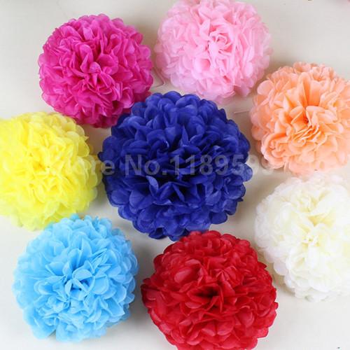 "6"" 8"" 10""(15cm 20cm 25cm) 30pcs Tissue Paper Pom Poms Wedding Party Decor Paper Flower For Garden Supplies/Wedding Decoration(China (Mainland))"