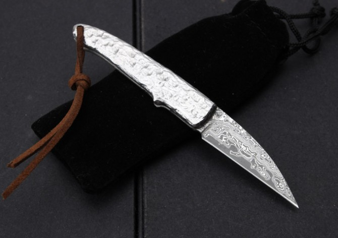 Buy Latest Small Silversmith Damascus Folding Knife Portable Pocket Knife Hand-forged Steel Handle Very Sharp Tactical Hunting Knife cheap