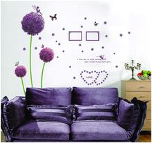Purple Dandelion Wall Stickers Romance Decoration Wall Poster Home Decor flower wall decals(China (Mainland))