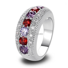 Wholesale Stylish Elegan Oval Cut Garnet & Amethyst 925 Silver Ring Size 6 7 8 9 10 New Fashion Jewelry 2014 Gift  For Women