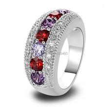 Wholesale Stylish Elegan Oval Cut Garnet & Amethyst 925 Silver Ring Size 6 7 8 9 10 New Fashion Jewelry 2014 Gift  For Women