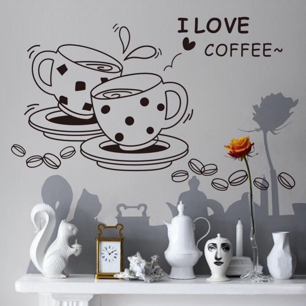 I love coffee wall papers home decor wall stickers for Murales per cucina