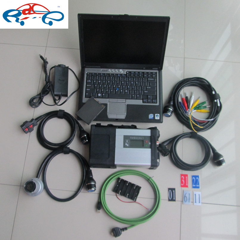 2016 Newest mb star sd connect c5 multiplexer with full cables + 2015.12V super mb star c5 software in 120gb ssd + d630 laptop(China (Mainland))