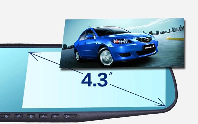 Allwinner  Dual Car Camera Recorder Full HD 4.3 Inch Anti-glare Car DVR Rearview Mirror Track Playback(China (Mainland))