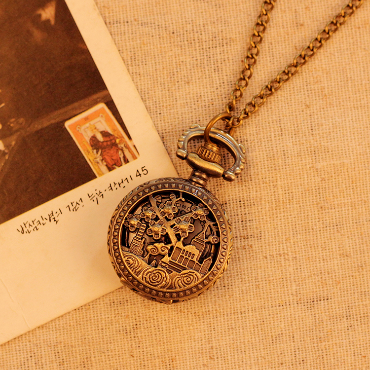 78cm Chain Necklace Watch Hollow Flower Building Pattern Case Bronze Vintage Antique Pocket Watches Fashion Best Gift(Hong Kong)