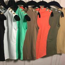 Women Summer Fashion Clothing Clothes Three Metal Button Gold Letter Brand Sleeveless Balm Cotton Top T-shirt Tee T Shirt(China (Mainland))
