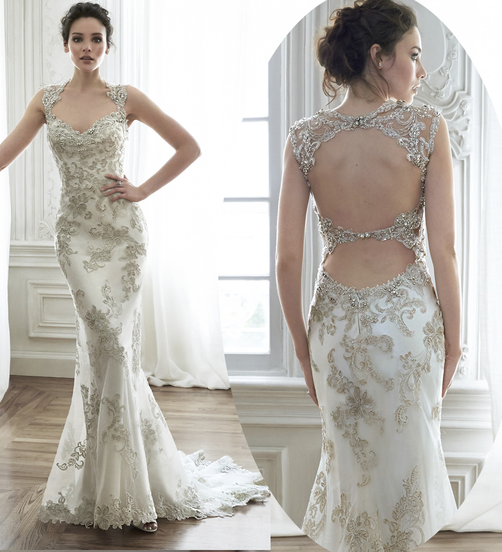Luxury Scoop Sleeveless Beading Appliques Sexy Open Back Lace Wedding Dress Mermaid Wedding Dresses 2015 Vestidos De Novia MK-33(China (Mainland))