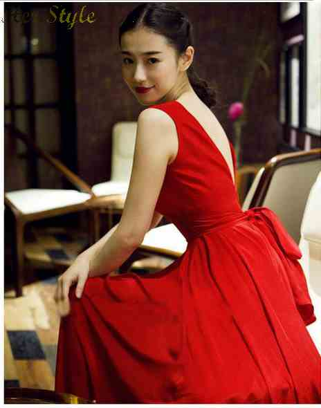Free Shipping wind spring sexy backless deep flowing chiffon Dresses Bridal gowns dresses red vest 1428108167(China (Mainland))