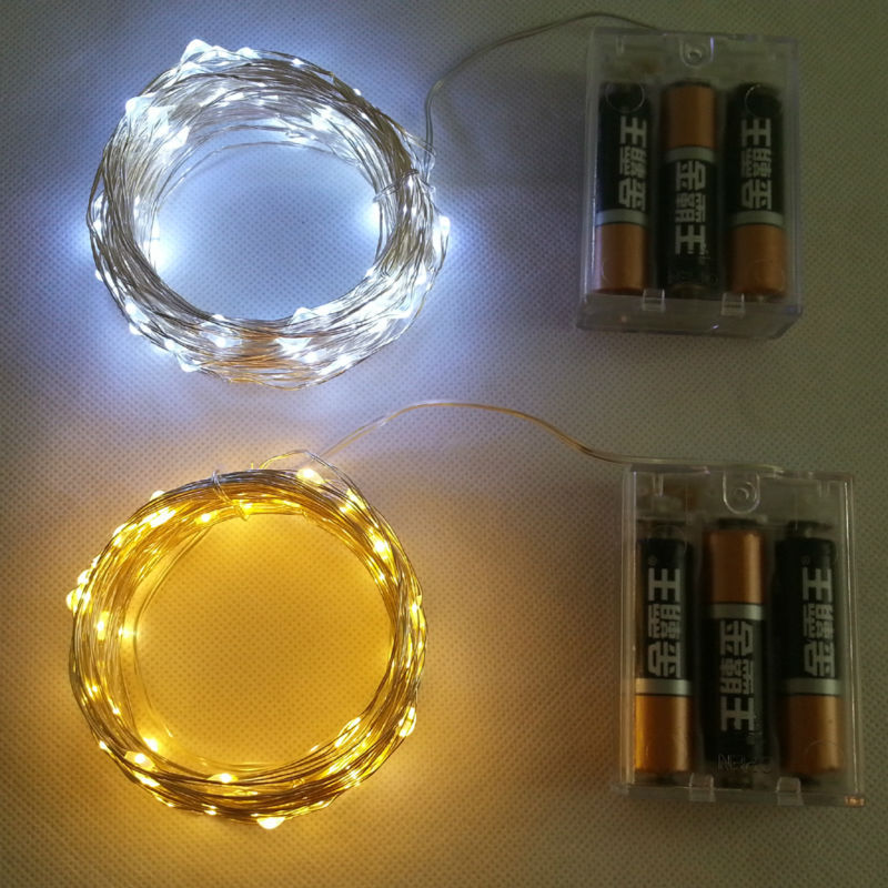 3AA Battery Powered 10M 100 led LED Silver Color Copper Wire Fairy String Lights lamp for Christmas Holiday Wedding and Party(China (Mainland))