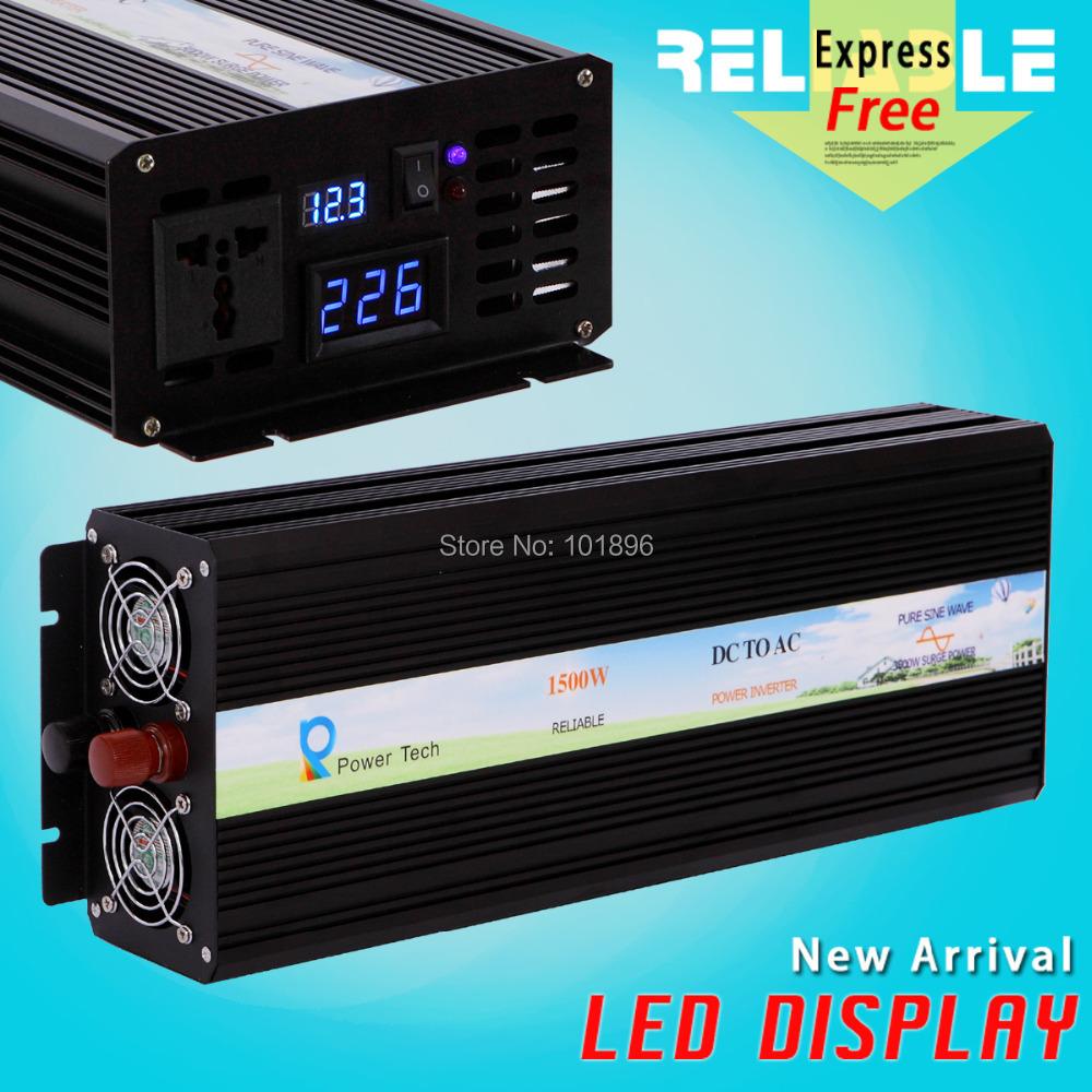 Factory Offer Reliable Quality LED Display 1500w(12V or 24V or 48V or 110V) AC/DC pure sine wave inverter 1500w home inverter(China (Mainland))
