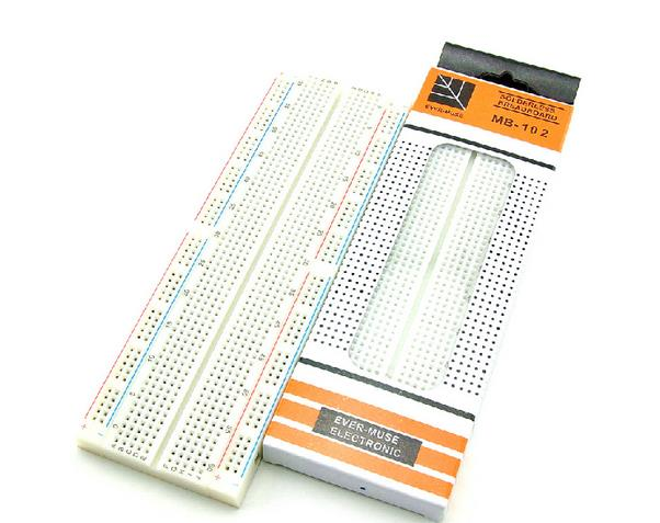 free shipping 5pcs MB-102 BreadBoard 830 Point Solderless Universal test bread board MB102 for Arduino project(China (Mainland))