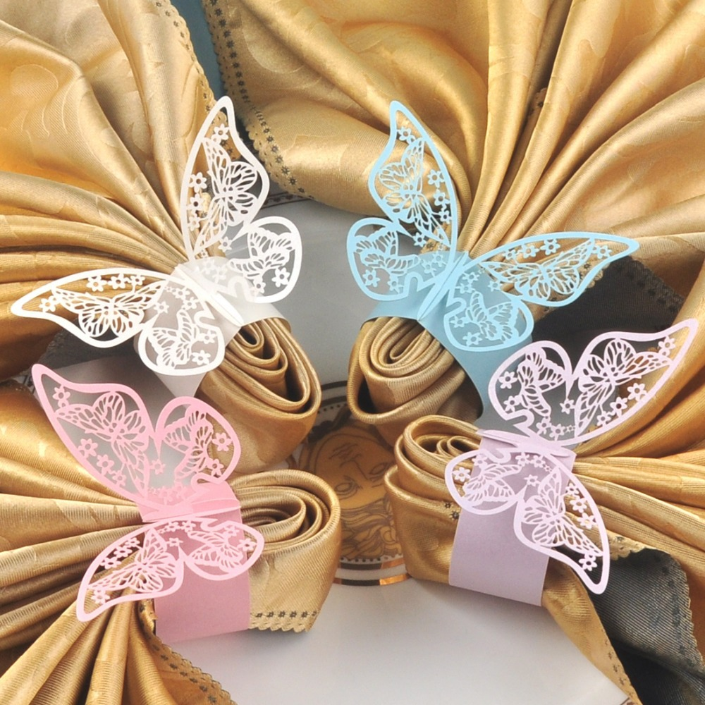 Free Shipping 60pcs Butterfly Paper Napkin Rings for Wedding Party decoration Wedding Favors Four Colors for your chose(China (Mainland))
