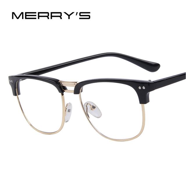 Merry's мужчины мода оправы очки мода женщины очки кадр миопия заклепки кадров