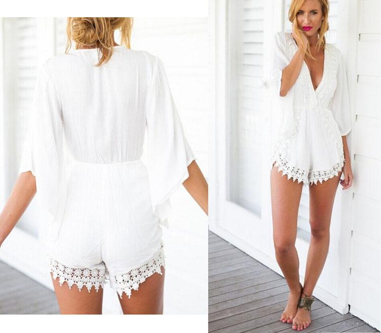 White Lace Short Jumpsuit
