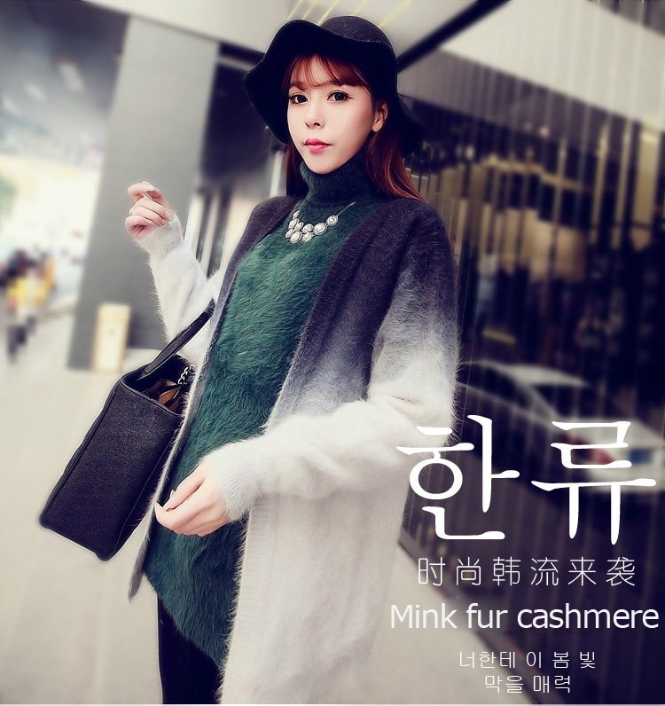 2014 genuine mink fur coat womens long knitted mink fur sweater mink cashmere sweater Color gradient Free shipping EMS F-613Одежда и ак�е��уары<br><br><br>Aliexpress