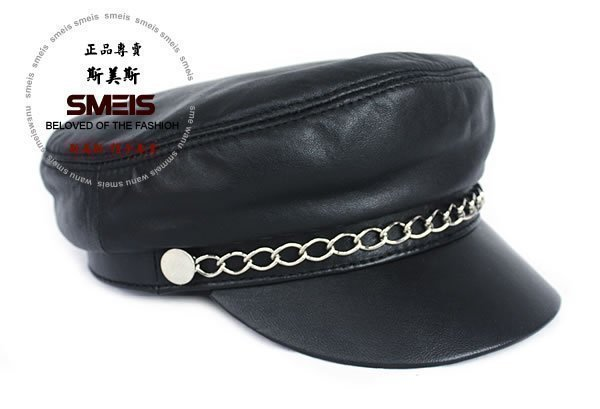 2014 fur hat casual chain genuine leather hat