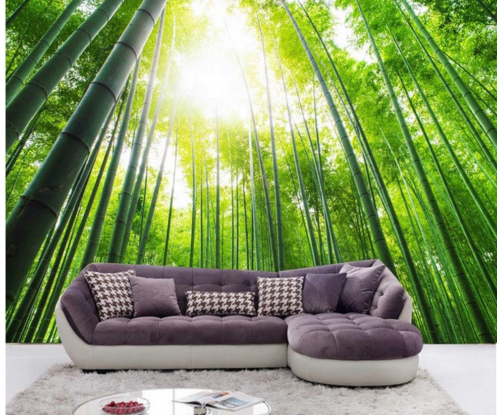 Custom photo wallpaper large 3d sofa tv background for Bamboo forest wall mural