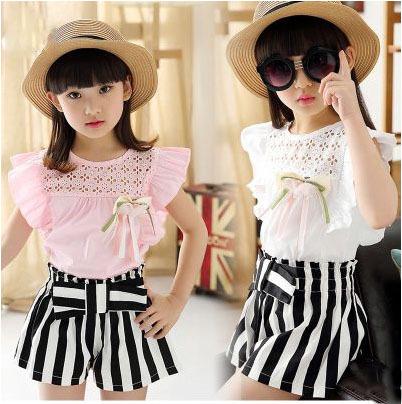 2015 cotton blended cloth sleeveless skirt white pink thin stripe pullover summer girls children dressed skirts set child dress(China (Mainland))