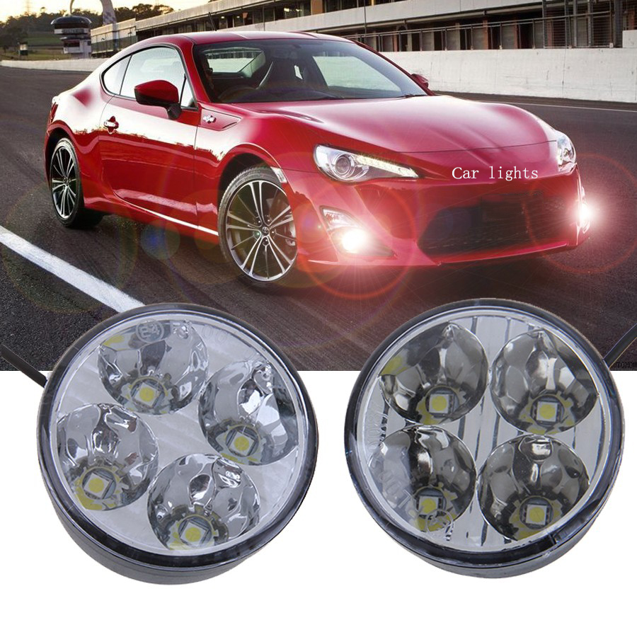-90% OFF 1 Pair Round Auto Car Lights 4 LED DRL Driving Daytime Running Head Fog Light Lamp White Car External Lights(China (Mainland))