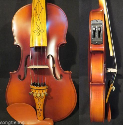 Brown color NEW model 5 strings 4/4 electric violin +Acoustic violin #9452(China (Mainland))