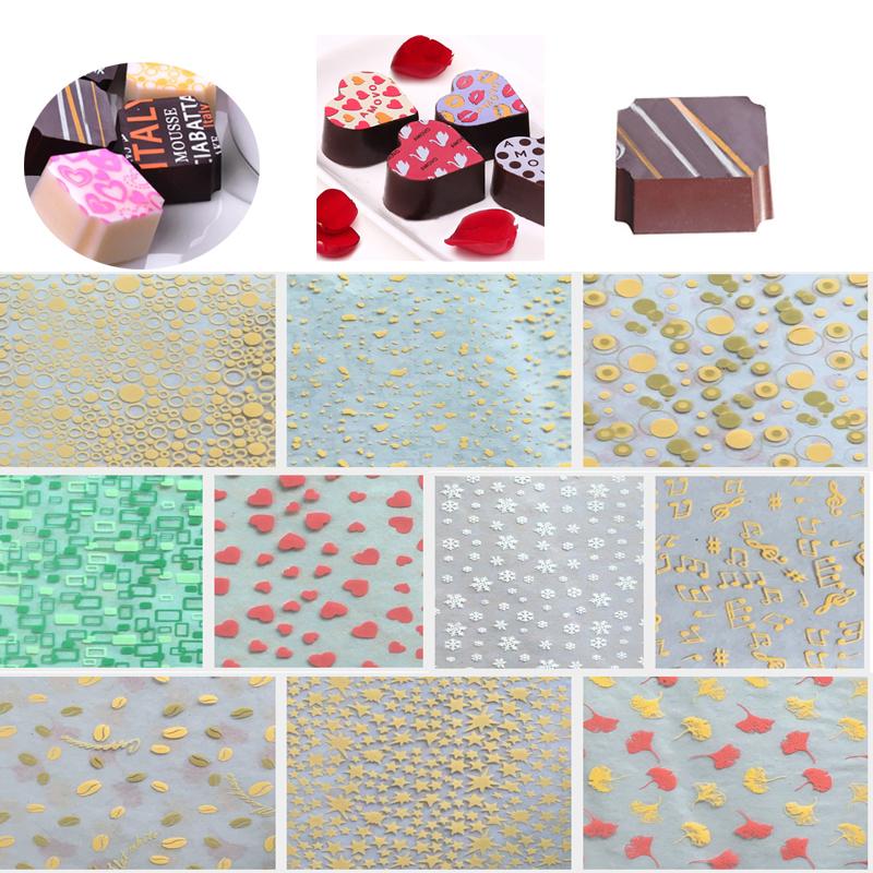 34-22CM-50PCS-DIY-Handmade-food-chocolate-transfer-sheets-printed-for-chocolate-decoration-Tools-
