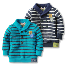 2Color 7Size New 2014 spring autumn children outerwear baby boy casual striped hoodies kids pullover top  t-shirts child hoody(China (Mainland))