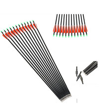 12 Pcs 30 Archery Carbon Arrows with Replaceable Arrowheads and Plastic Feathers Spine 500 Fit for