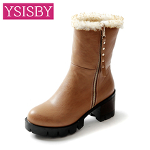 Korea Style 2016 Snow boots Square heel womens PU leather Mid-Calf winter Zip warm plush shoes Big Size 32-43 - YSISBY CO.,LIMITED store