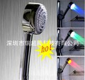 free shipping LED Temperature Control 3 Color Lights Shower Head bathroom springkler self power No battery needed